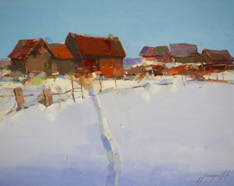 Village Winter Time,  Landscape Original oil painting, handmade art, made by palette knife, Signed