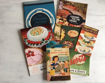 6 Vintage Carnation Recipe Booklets From 1950s