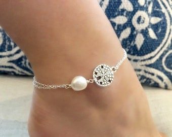 Sand dollar Pearl Anklet with Starfish Pearl Anklet Sand dollar Anklet Pearl Jewelry Sand dollar jewelry Beach Wedding bridesmaid anklets