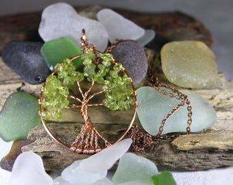 Peridot Tree of life pendant, Green Gemstone Jewellery, Wire wrapped necklace, Statement Piece, Birthstone Pendant, Crystal Necklace