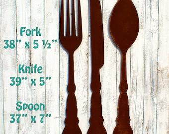 Kitchen Decor Spoon Fork Knife Rustic Brown Fork Spoon Knife Silverware Kitchen Wall Decor Restaurant Decor Kitchen Art