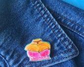 Shrink plastic pin, boobs pin, black girl art pin, bustier pin, bra pin, wearable art, gift for her, bust pin, shiny pin, glossy pin, choker
