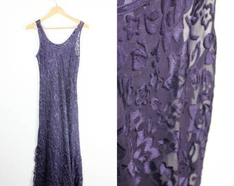 Sheer Purple Burn Out Fabric Goth Grunge Maxi Sleeveless Dress Burnt Out 90s Vintage