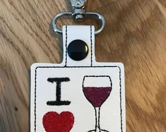 I LOVE Wine Keychain
