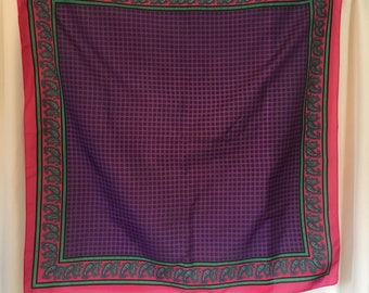 Vintage Sarah Coventry Purple, Pink, Green Paisley Scarf  Polyester 31 Inches