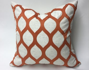 Orange and Ivory Pillow Cover in Geometric Embroidered Diamond