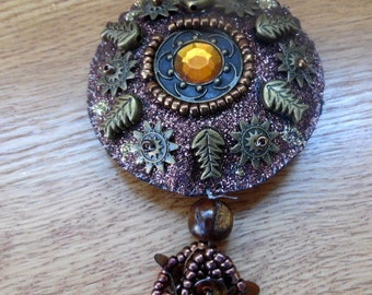 Vintage, hand beaded pendant, tassle.  Bronze seed beads, and glitter base with brass findings,  vintage craft supplies, victorian style
