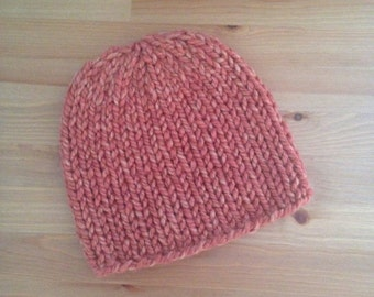SALE! Knit Beanie Hat in Coral