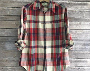 Vintage Eddie Bauer Tartan Plaid Flannel Shirt Womens Small