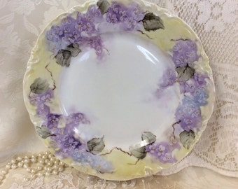 """Hand painted plate vintage style I painted delicate lavender flowers with yellow background on a vtg bavaria 10""""plate."""