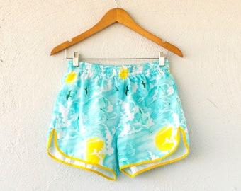 Vintage 70s Hawaii Surf Shorts // Hawaiian Birds Sun Sky Clouds Athletic High Waisted Short Shorts