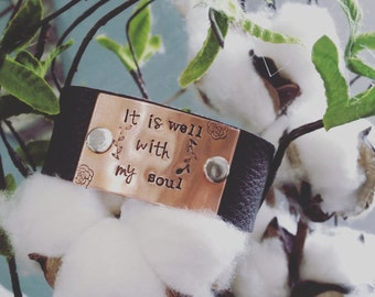 Handstamped women's leather cuff-leather bracelet-graduation-she believed she could so she did-inspirational-it is well with my soul-friend
