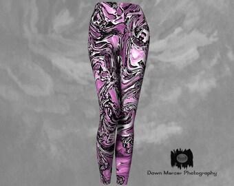 Artsy Pink Leggings Graffiti Abstract Art, Tight Yoga Pants Artsy Workout Leggings Womens Activewear, Designer Premium Leggings