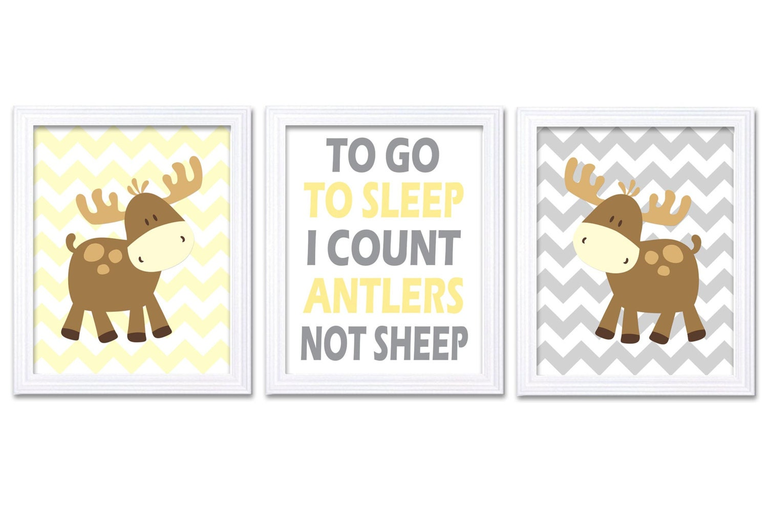 Moose Nursery Art Prints Set of 3 To Go To Sleep Count Antlers Yellow Gray Grey Stripes Baby Girl Ki