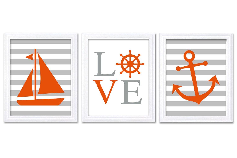 Orange Gray Grey Nautical Nursery Art LOVE Set of 3 Prints Stripes Child Art Kid Room Wall Art Decor