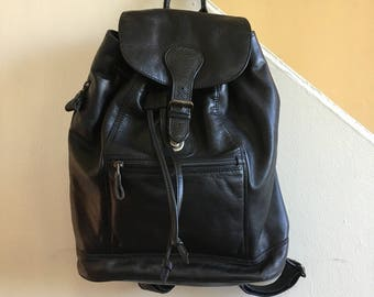Vintage Eddie Bauer black leather backpack