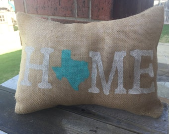 Burlap Texas Home Pillow Cover 12x16