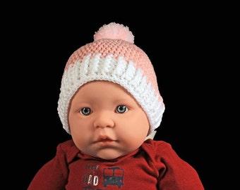 Winter Baby Hat, Crochet, Baby Girl's Hat, Handmade, Infant Winter Hat, 0-3 months,  Baby Shower Gift, Pull On Hat