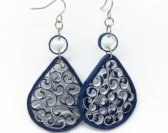Quilled Paper Earrings - Paper Jewelry - Quilling Jewelry - Filigree Earrings