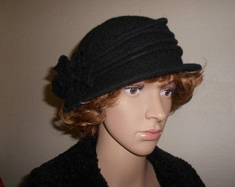 Black Wool Slouchy Hat w/Flower