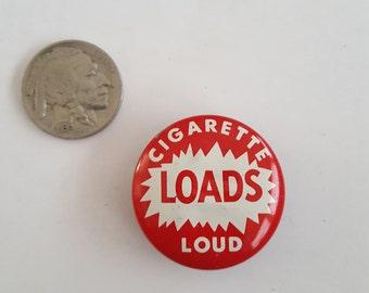 Vintage 1960's novelty tin Cigarette Loads Loud, 2 left red white litho