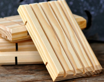 Pine Wood Soap Draining Tray/Dish, 100% American Pine Wood, Rustic Soap Tray
