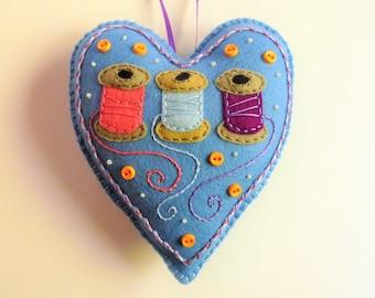 Felt Heart Ornament, Sewing Ornament, Gift for Seamstress, Pin Cushion, Pin Keeper, Doorknob Hanger, Doorknob Pillow, Sewing Supply, Spools