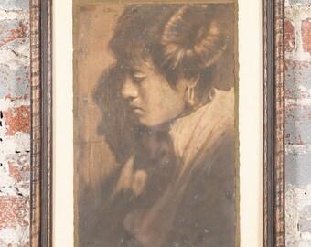 "Edward Curtis "" Native American Woman Portrait -Original Photograph - c.1900's"