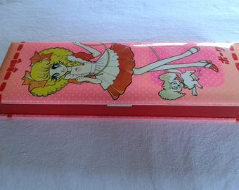 Vintage japan pencil case box, Polly showa shoujo big eye girl japanese pen case by kutsuwa