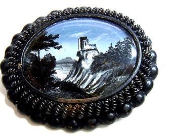 Fer de Berlin Iron jewelery brooch with painting around 1810