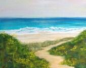 """Original art - soft pastel, ocean beach landscape painting, """"Big Sur""""."""