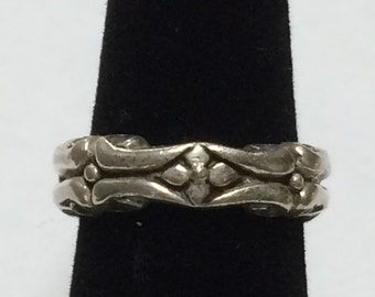 VINTAGE Sterling Silver 5mm Decorative Wide Band Ring Size 6.75