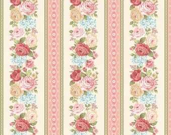 Peaceful Garden~Rose Border Stripe Cotton Fabric by Henry Glass Fast Shipping F882