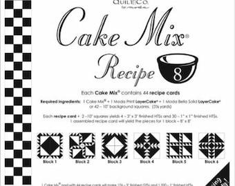 "Moda Cake Mix Recipe #8 ~44 recipe cards will make 176 3"" Fin QST & 1320 1"" Fin HST,Fast Shipping PT489"