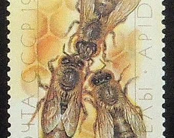 Bees and honeycomb -Handmade Framed Postage Stamp Art 21190AM