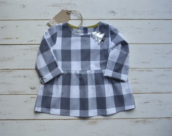 Gray And White Check Blouse Long Sleeve
