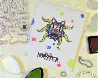 Monster Cards, set of 5, handmade from exclusive designs, matching envelopes included