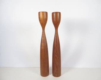 Vintage Danish Modern Teak Wood Candle Holders - Mid Century Made in Denmark Wood Candlestick Holders