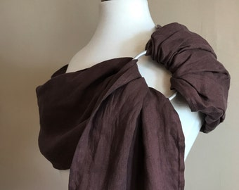 Hand-dyed Double-layered Linen Ring Sling in Maroon