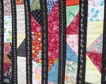 Small Quilted Wall Hanging/table topper, Patchwork block of Chinese Coins Quilt