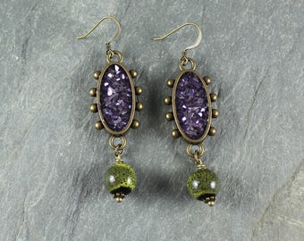 Bohemian Chic ~ Purple and Green earrings