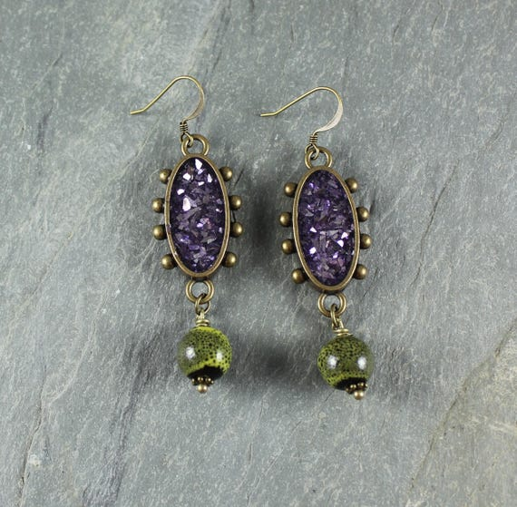 Bohemian Chic ~ Purple and Green earrings
