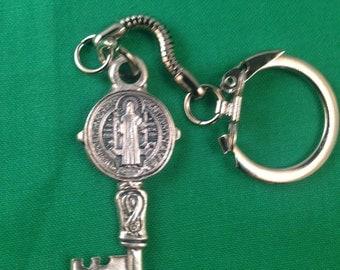 """Saint Benedicit Key Chain 2"""" Tall"""