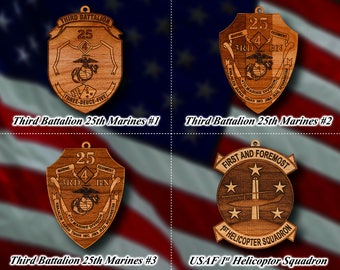 Wooden Military Patch Ornaments #1