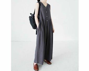775---Loose Front Buttoned Linen Jumpsuit , Wide Leg Linen Romper, Gray / Navy Blue / Beige /  Natural Linen Color Overall, Women Romper.