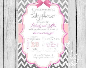 Gray and Pink Baby Shower Invitation / Gray and Pink Chevron Bridal Shower Invitation / Zig Zag Pattern / Baby Shower Invitation