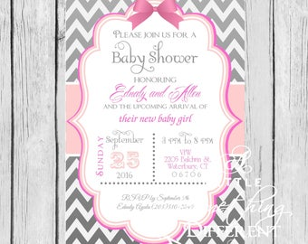 Chevron Baby Shower Invitation / Gray and Pink Chevron Bridal Shower Invitation / Zig Zag Pattern / Baby Shower Invitation