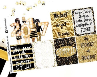 NEW YEAR'S Eve Black and Gold Day Squares Stickers for your Planner