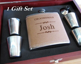 Set of 1 Unique Groomsman Wedding Flask Gift Box // Best Man Gift Box // Bridesmaid Gift Box Set // Wedding Party Favors //Mens Wedding Gift