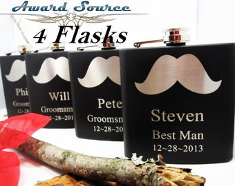 Set of 4 Personalized Wedding Mustache Flasks // Men's Flask with Mustache Design // Custom Engraved Flasks for Wedding Party Members